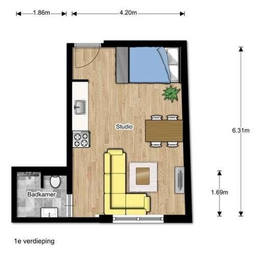 Foto #84f11a83-10d9-435f-9685-287f2975323f Appartement Oude Delft Delft